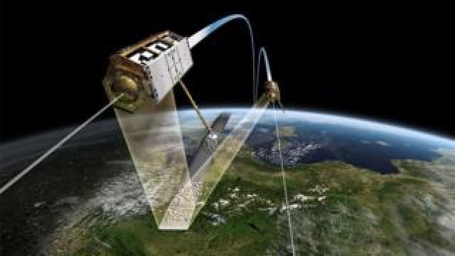 Artwork of satellites