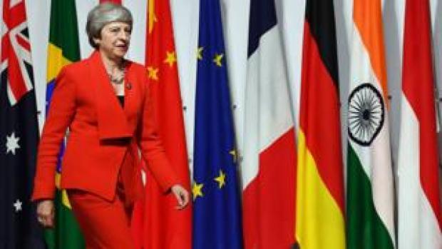Theresa May at the G20 summit in Osaka