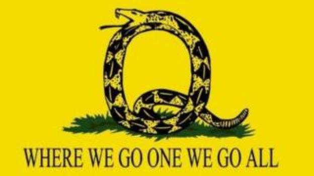 trump Picture of a snake in the shape of a letter Q and the slogan