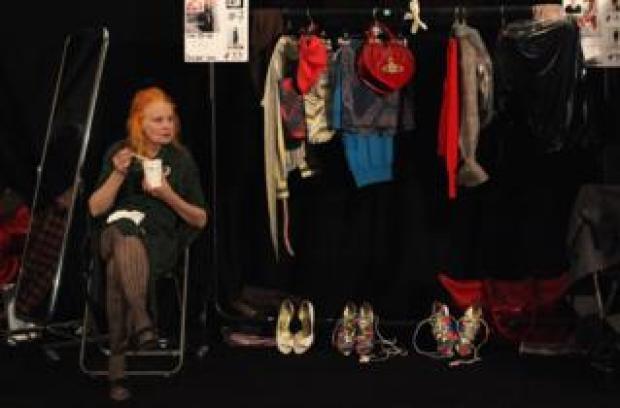 Designer Vivienne Westwood sits backstage before her Vivienne Westwood Red Label Fashion Show in September 2009