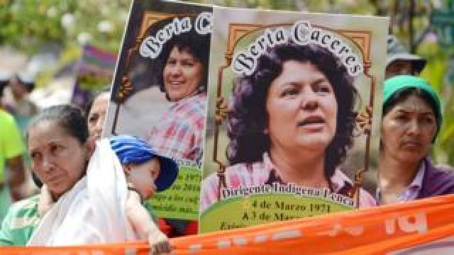 Berta Cáceres posters are carried during a International Women's day demonstration in Tegucigalpa on March 08, 2016