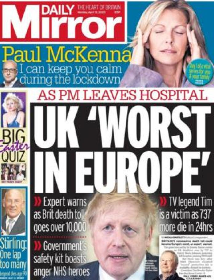 The Daily Mirror front page 13 April