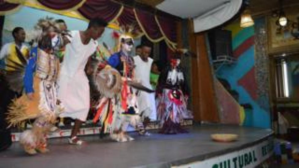 Intercultural event organized by US embassy in Addis Ababa, featuring Native American dancing and traditional Ethiopian dancing.