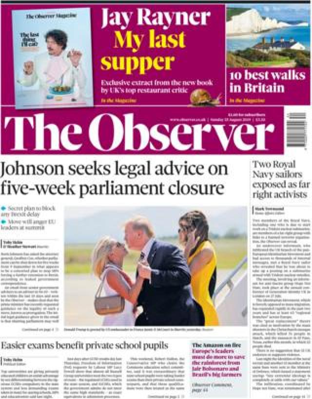 Observer front page, 25/8/19