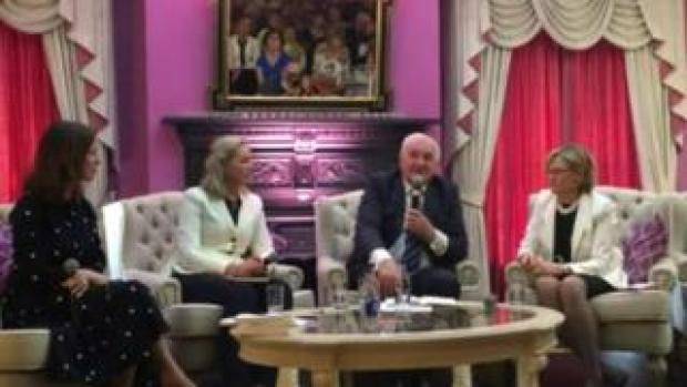 Sarah Carey, Dr Mary Murphy, Bertie Ahern, and Mairead McGuinness