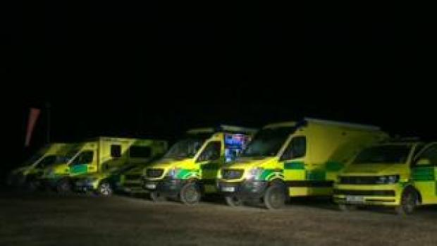 Emergency vehicles at the airfield