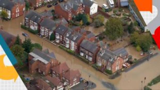 Flooded streets in Worksop
