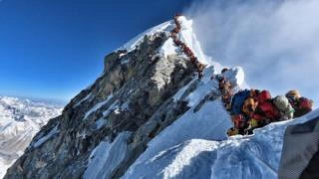 Climbers make the ascent of Everest