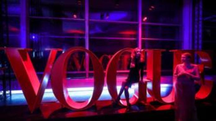 Vogue sign at the magazine's 20th annivesary in Russia