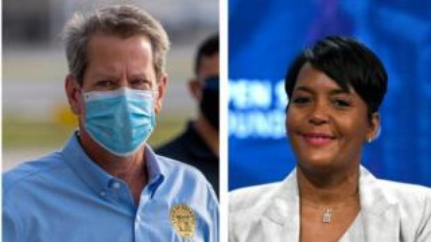 Governor Brian Kemp and Atlanta Mayor Keisha Lance Bottoms