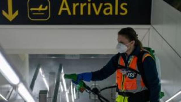 A woman at Gatwick Airport