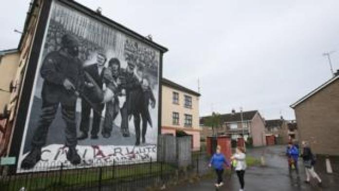 Mural in the Bogside area of Londonderry depicting Bloody Sunday