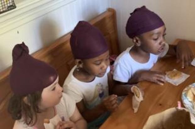 Ella, Ziva, MaKenna wearing stocking caps