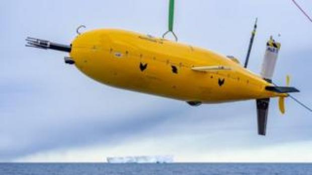 Yellow sub suspended in mid-air