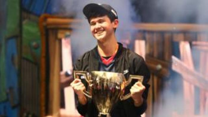 Kyle Giersdorf - aka Bugha - winning the solo competition at the Fortnite World Cup in July 2019