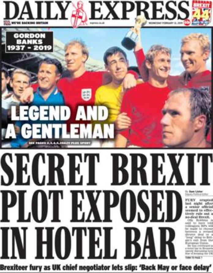 Daily Express front page 13/02/19