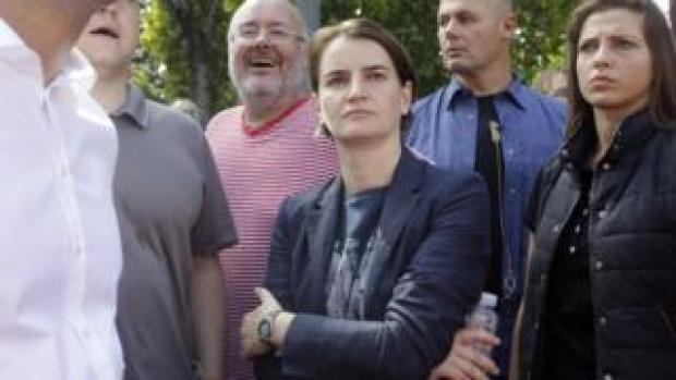 Ana Brnabic in the Pride parade audience