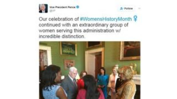 Pence tweet about Women's History Month