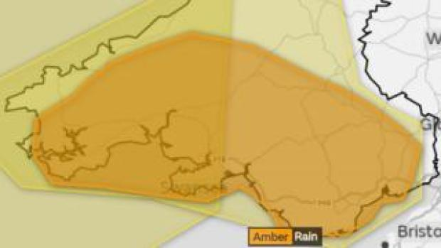 Map showing the amber warning across most of southern Wales