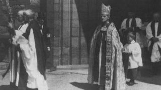 The first Archbishop of Wales, Alfred Edwards, at his enthronement in 1920