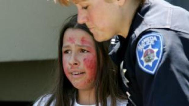 A student with fake blood on their face during an active shooter drill in California
