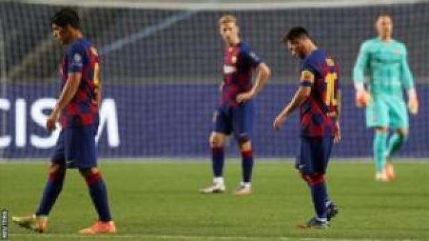 موسم برشلونة انتهي بهزيمة لصالح بايرون ميونيخ بنتيجة 8-2 في ربع نهائي دوري الأبطال