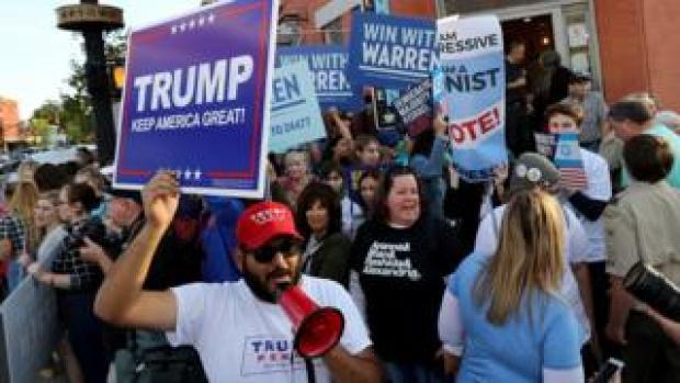 Donald Trump and Elizabeth Warren supporters