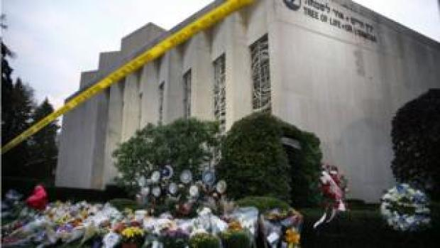 Flowers placed at memorials outside of the Tree of Life synagogue in Pittsburgh