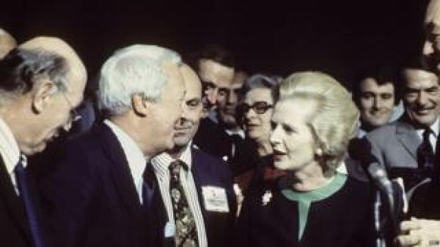 Margaret Thatcher and Ted Heath at the 1976 Conservative conference