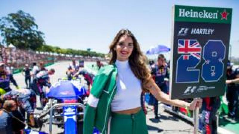 A grid girl at the Formula One Grand Prix of Brazil