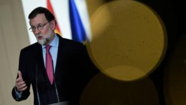 Spanish Prime Minister Mariano Rajoy holds his end-of-the-year press conference in Madrid on 29 December 2017