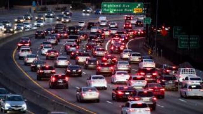 Motor vehicles drive on the 101 freeway in Los Angeles, California on 17 September, 2019
