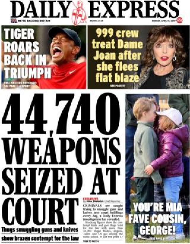 Daily Express front page, 15/4/19