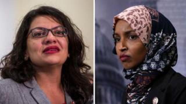 Congresswomen Rashida Tlaib (left) and Ilhan Omar