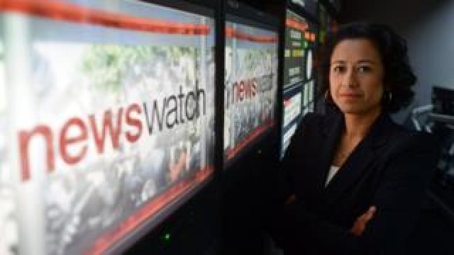 Samira Ahmed in the Newswatch studio in 2012