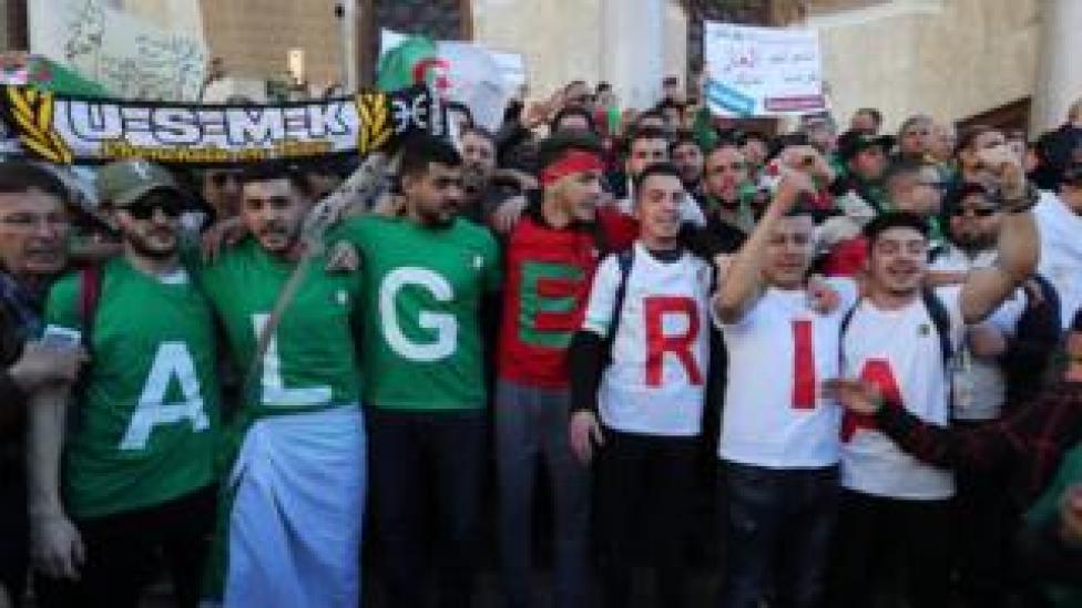 Algerian protesters during a protest against extending President Abdelaziz Bouteflika mandatin in Algiers
