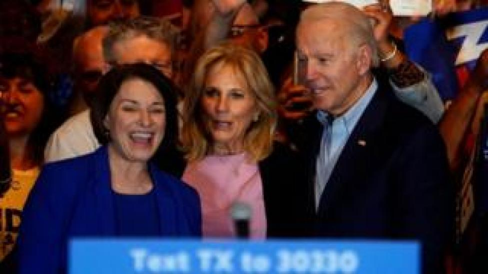 Amy Klobuchar (LEFT) endorses Joe Biden (RIGHT)