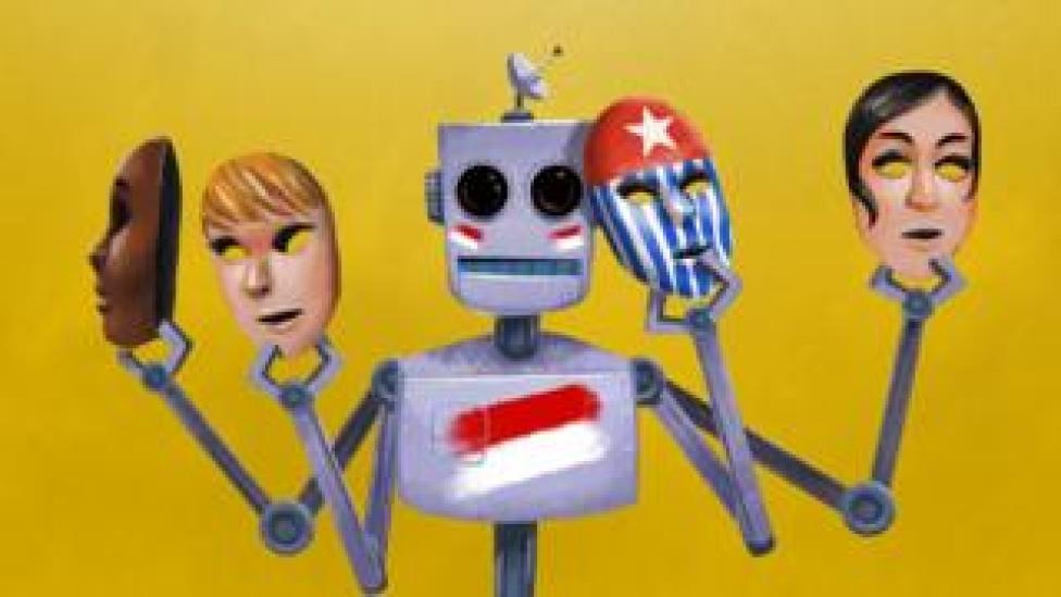 Illustration of a robot holding up several masks