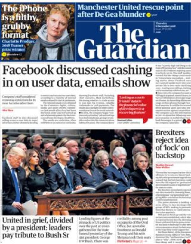 Guardian front page, 6/12/18