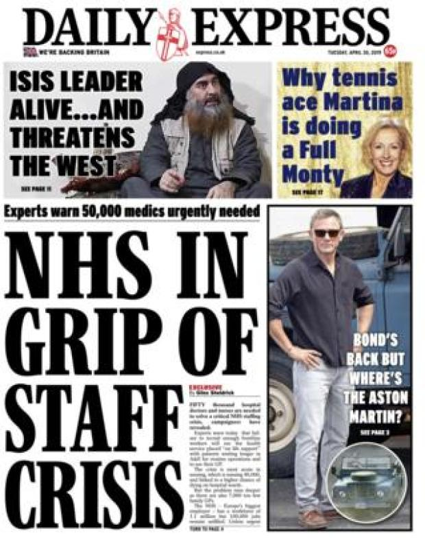 Daily Express front page - 30/04/19