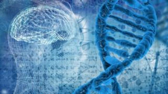 Graphic of DNA double helix and human head and brain