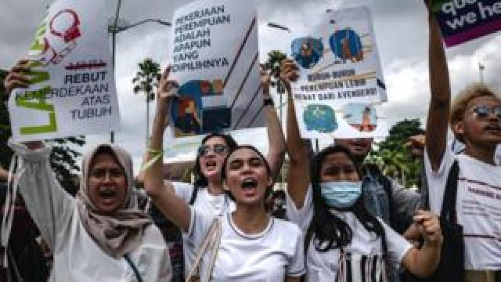 Indonesian women rally for equality on International Women's Day in Yogyakarta, Indonesia, 8 March 2020