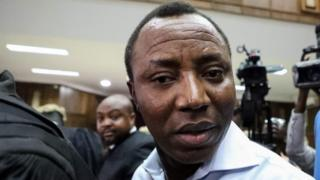 Security: Omoyele Sowore arrives at a courtroom in September