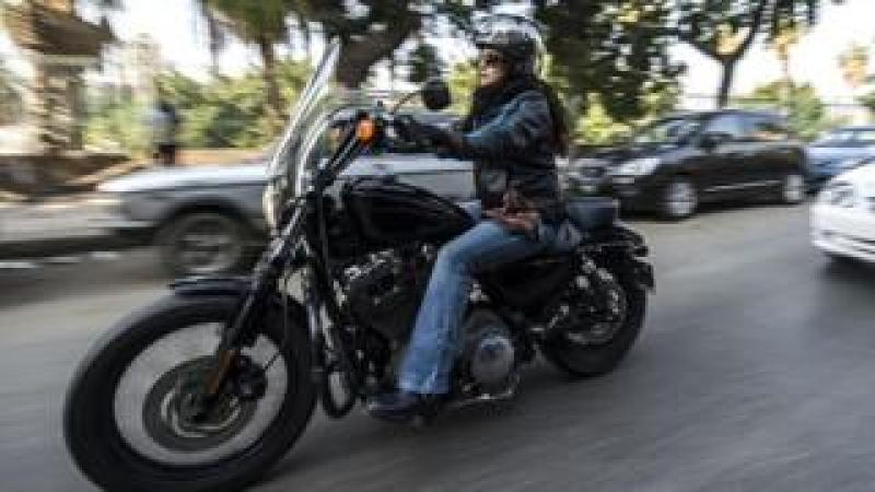 woman on a Harley