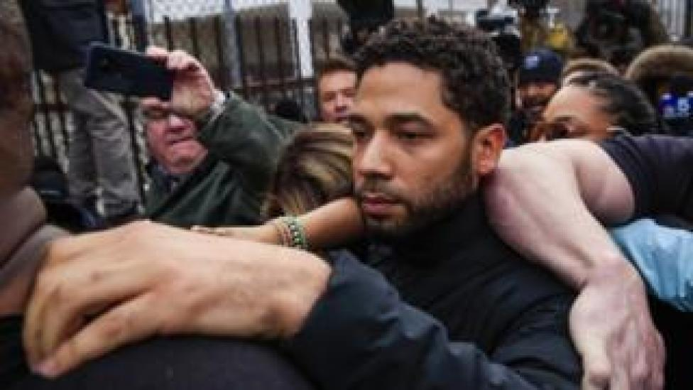 trump Jussie Smollett emerges from the Cook County Court complex in Chicago 21 February 2019