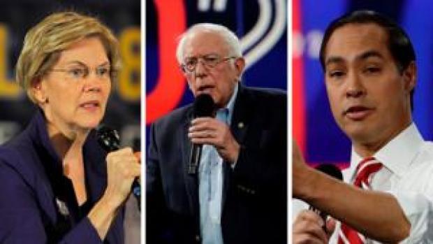Elizabeth Warren (L), Bernie Sanders (C) and Julian Castro (R) are all contending for the Democratic presidential nomination