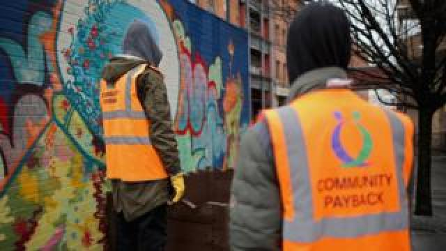 Archive image from February 2015 of young offenders doing manual work as part of a Community Payback scheme in Manchester