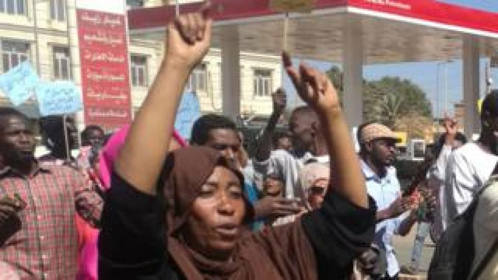 Sudanese demonstrators gather in Khartoum's twin city Omdurman on January 20, 2019,