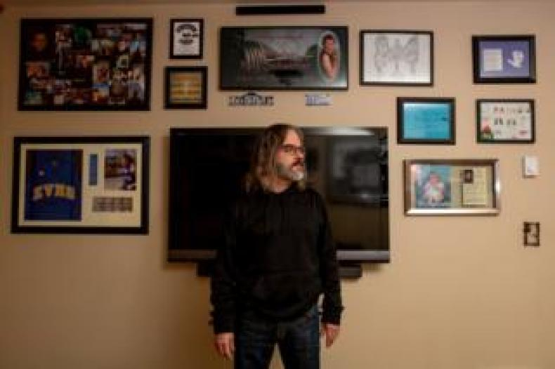 Steve Schaeffer has a shrine to his son in his apartment