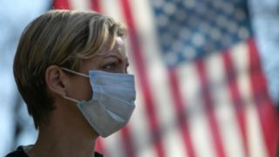 trump Volunteer wearing mask in NYC